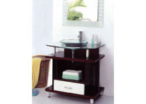 Glass Vanity with Wooden Base
